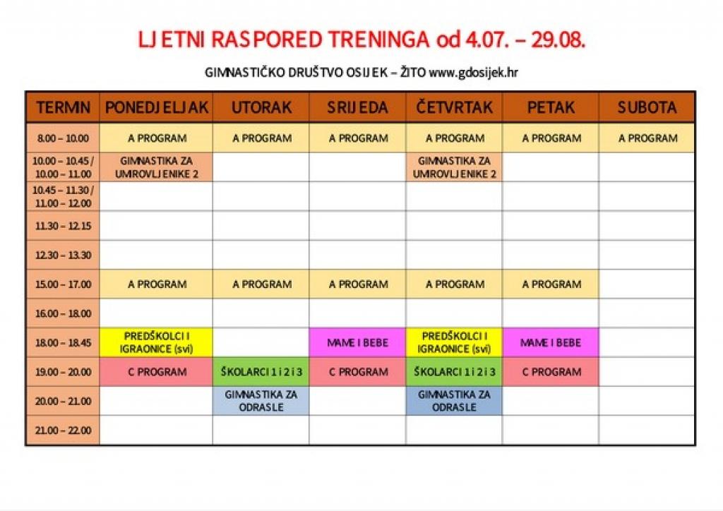 Ljetni raspored treninga u Sokolskom domu